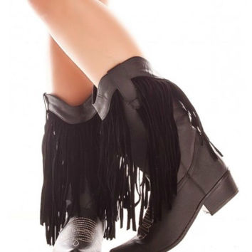 Black Western Style Boot with Fringe Detail