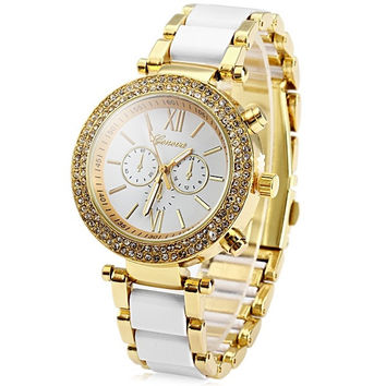 Geneva Diamond Bezel Women Quartz Steel Watch with Date Display Decorative Sub-dials = 1956997124