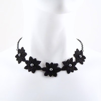 Black Choker Lace Flowers and Swarovski Elements Grey / Charcoal Pearls - Necklace, Women Jewelry, Jewellery, Chocker