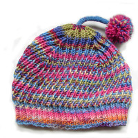 Striped stretchy beanie with pompom, cool wool hat for kids, brioche stitch, magenta-blue-green shades, READY TO SHIP