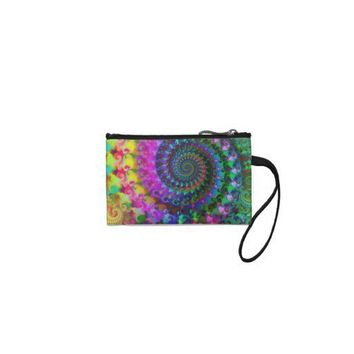 Hippy Rainbow Fractal Art Pattern Coin Wallet from Zazzle.com