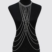 New Women Multi Layered Tassel Body Chain Necklace - S