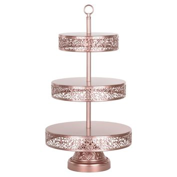 3-Tier Reversible Dessert Cupcake Stand (Rose Gold)