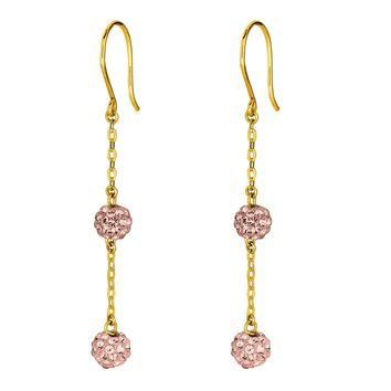 14K Yellow Gold Shiny Cable Chain Link with 2 Rose Crystal Ball Drop Earring