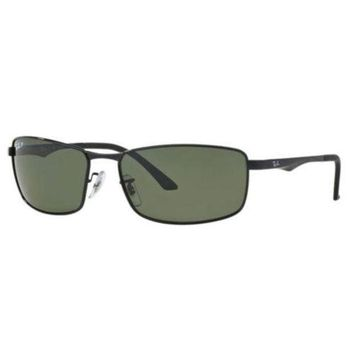 Kalete Ray Ban RB3498 002/9A Sunglasses Black Polarized Green Classic G-15 Lens 61mm