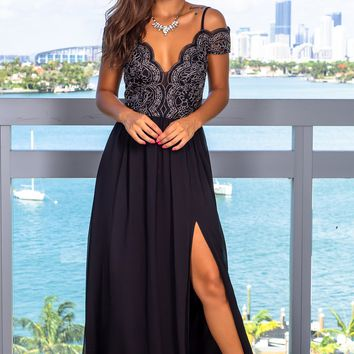 Black Off Shoulder Embroidered Maxi Dress with Side Slit