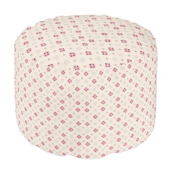 Retro Red Flower Gold Star Vintage Wallpaper Round Pouf