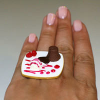 Kawaii Cute Japanese Ring  Chocolate Ice by fingerfooddelight