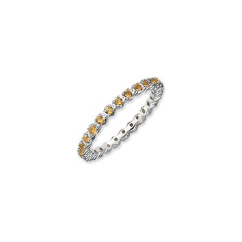 2.25mm Silver Stackable Citrine Band