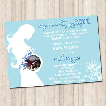 Baby Boy Ultrasound Invitation with Picture