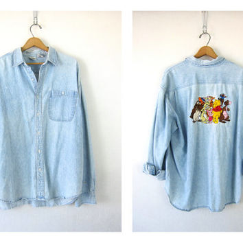 25% OFF SALE Winnie the Pooh Vintage 80s Faded Denim Jean Disney Shirt Button Up Oversized Worn In Distressed Denim Tigger Shirt X Large XL