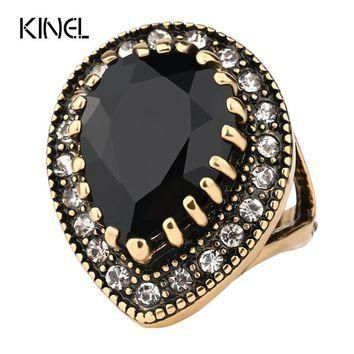 Vintage Look Victoria Wieck Wedding Rings Color Gold Black Ring Jewelry For Women Yee