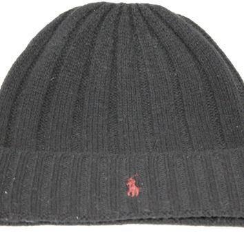 Polo Ralph Lauren Mens Lambs Wool Black/Wine Red Pony Beanie Hat OS