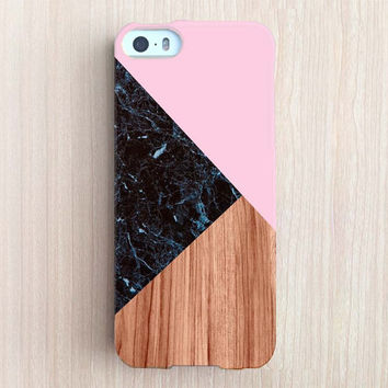 iPhone 6 Case, iPhone 6 Plus Case, iPhone 5S Case, iPhone 6, iPhone 5C Case, iPhone 4S Case, iPhone 4 Case - Black Marble Color Block Pink