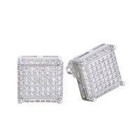Jewelry Kay style Men's Iced Out 14k G/S Plated Micro Pave 3D Square CZ Screw Back Earrings SHS610