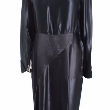 Vintage Antique Black Silk Satin Dress 1920s Art Deco M Wearable