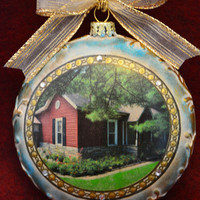 New Home Christmas Ornament Custom Ornament House Warming Hand painted Our First house Memory Ornament Realtor Closing Gift Glass