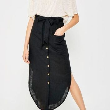 Tessa Linen Blend Midi Skirt in Black