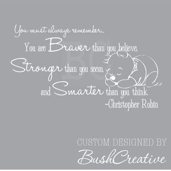 Winnie the Pooh Wall Decal Christopher Robin Nursery Quote 009