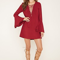 Lace-Up Bell Sleeve Dress