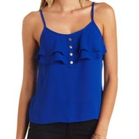 Button-Up Ruffle Tank Top by Charlotte Russe - Blue