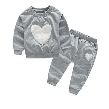 Autumn Casual Girls Clothes Girls Clothing Sets Cotton Long Sleeve Sweatshirt +Pants Casual 2pcs Girls Suits