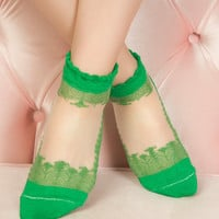 green Lace Socks Fashionable lace socks bridesmaid gift transparent socks