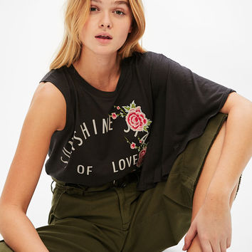 Embroidered asymmetric T-shirt with ruffled sleeve - New - Bershka United States