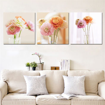 Canvas Painting Modern Flower Painting Wall Art Quadro Modular Painting Home Decor Canvas Art Cuadros Picture No Frame 3 Pieces