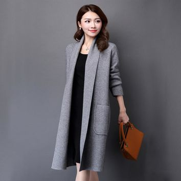 Autumn Winter Solid Color Long Style Turn-down Collar Brief Knee Length Knit Sweater Open Stitch Woolen Coat Cardigan