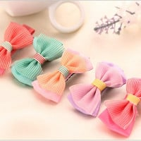 6 Pcs/Lot Candy Color Watermelon Red Lace Bow Barrette Kawaii Cartoon Cloth Hairpins Kids Girls Hair Princess Gift Duck Clips = 1958579012