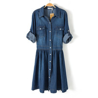 Plus Size Women's Fashion With Pocket Denim Half-sleeve Shaped Dress One Piece Dress [4917804612]