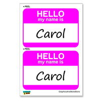 Carol Hello My Name Is - Sheet of 2 Stickers