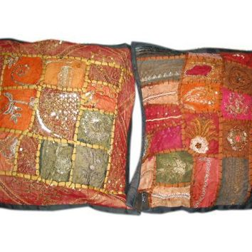 2 Indian Throw Pillow Shams Cushion Cover Black Beaded Shabby Chic Cushion Cover | Mogul Interior