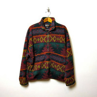 vintage 80s southwestern oversized pull over fleece jacket