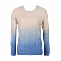 DIP DYE CABLE KNIT JUMPER - Ally Fashion