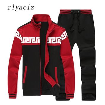 RLYAEIZ High Quality Sporting Suits Casual 2 Piece Set Mens Plus Size 4XL Tracksuits 2017 Autumn Patchwork Color Hoodies + Pants