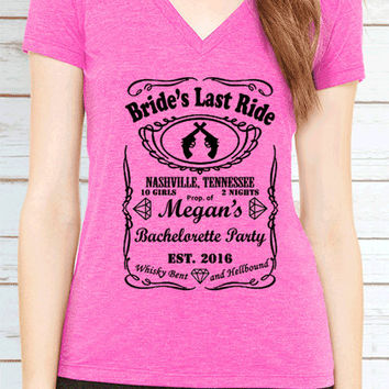 Bride's Last Ride Bachelorette Party Customized V Neck T Shirt. 4-6 Bridal Party Tees. Bridesmaids Wedding Shirts.