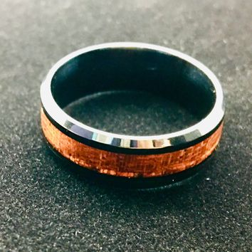 Men's Stainless Steal Wood Inlay Band Size 11.5