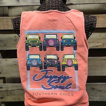 Southern Chics Jeepsy Soul Jeep Girlie Comfort Colors Bright T Shirt Tank Top
