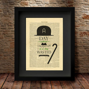 Charlie Chaplin Wall Art, Wall art prints, Home Decor, Charlie Chaplin print, Giclee Fine Art Poster, Dictionary art print, Wall Decor  -3