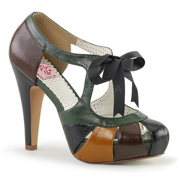 Pin Up Couture Retro Bettie Tie Top Brown Heels