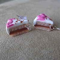 "Polymer Clay ""Party Cake"" Dangle Earrings with Silver Hook"