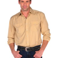 Stetson End on End Shirt with Snaps and 2 Pockets in Yellow - Yellow