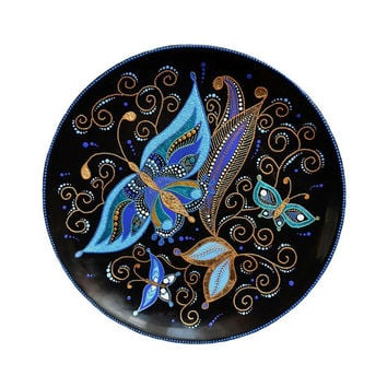 Hand painted large hanging decorative plate Flight at twilight, point-to-point, butterflies, blue, gold, wall decor, gift, home decor, art