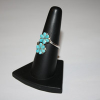 Double Flower Inspired Turquoise Vintage Sterling Silver Ring Size 8 - free ship US