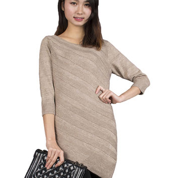 Spring Autumn Women Knitted Long Style Pullover Sweater Plus size Three Quarter Sleeves Ruffles Golden Lines and Stripes Dress