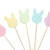 Pastel Easter Bunny Cupcake Toppers   Easter Party Decorations   Easter Decor