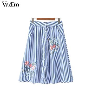Vadim women elegant floral embroidery striped skirts faldas mujer buttons pockets fashion streetwear mid-calf skirt BSQ591