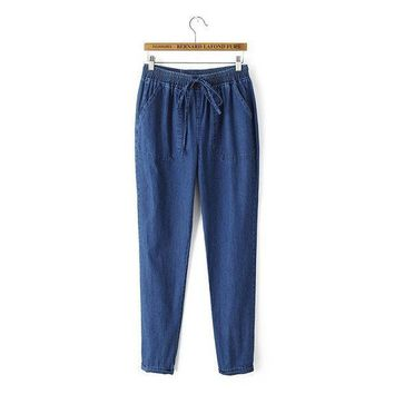 Women's Fashion Simple Design Casual Jeans [4919623940]